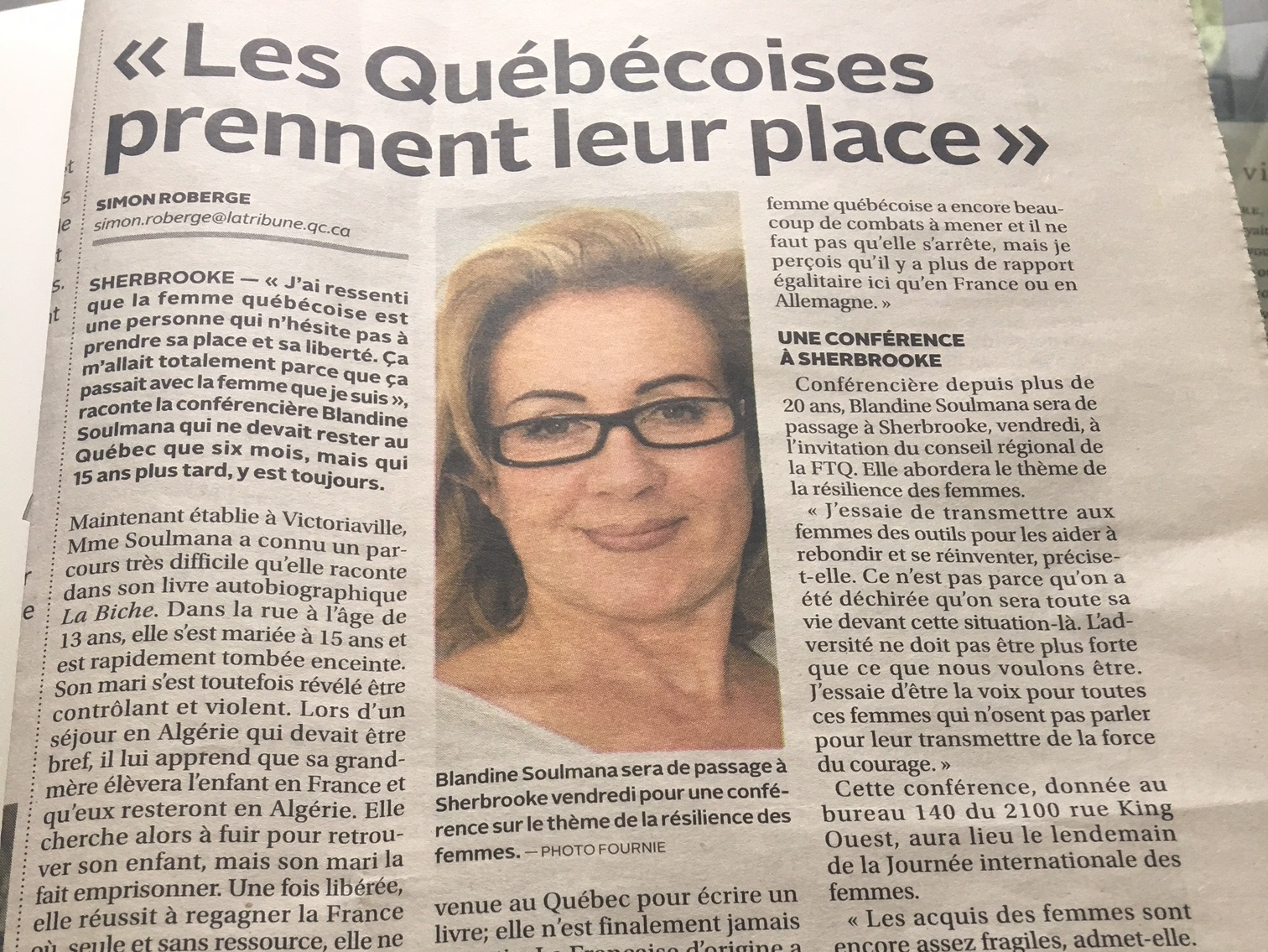 Article de Simon Roberge dans La Tribune